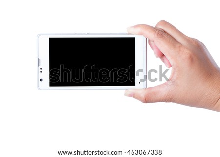 Hand holding touch screen mobile phone isolated on white.