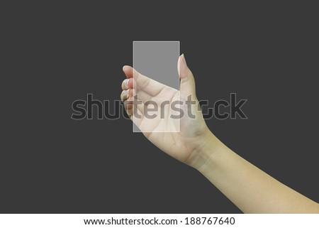 hand  holding touchscreen - stock photo