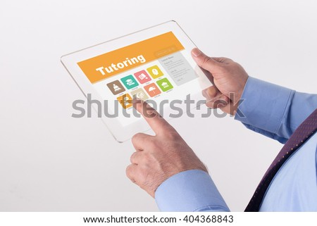 Hand Holding Transparent Tablet PC with Tutoring screen