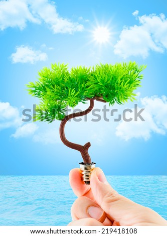 hand holding tree growing on light bulb with sun burst and light blue sky with cloud and water,eco concept,eco power - stock photo