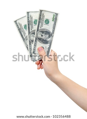 Hand holding tree hundred US dollars, isolated, clipping path - stock photo