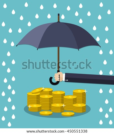 Hand holding umbrella under rain to protect money. money protection, financial savings concpet. illustration in flat style Raster version. - stock photo