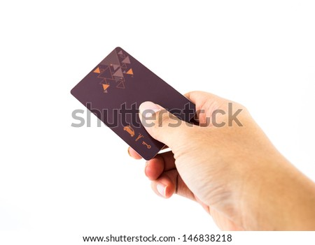 Hand Holding Up Security Clearance key Card isolated on white - stock photo