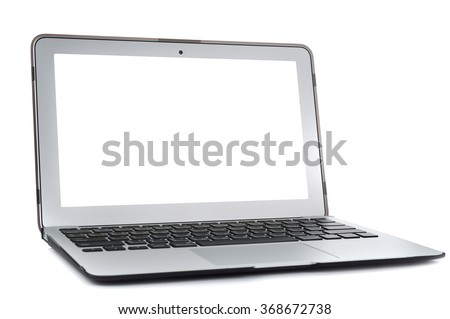 hand holding USB conected laptop on white background
