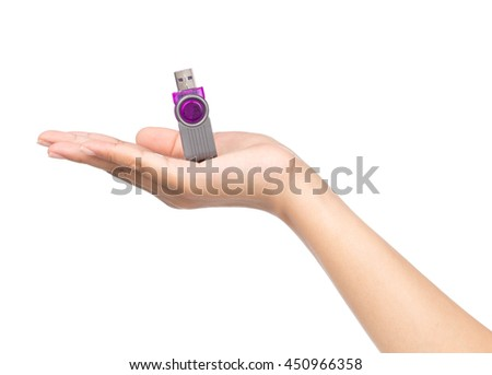 hand holding USB data storage or connecting computer device with USB cable, isolated on white background - stock photo