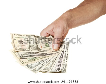 Hand holding various US dollar bills isolated on white background