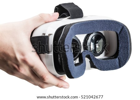 hand holding virtual glasses on a white background