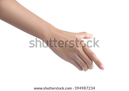 Hand holding virtual mobile phone isolated on white with clipping path included