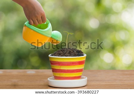 hand holding watering can for Plant in pot on wood with Green bokeh background