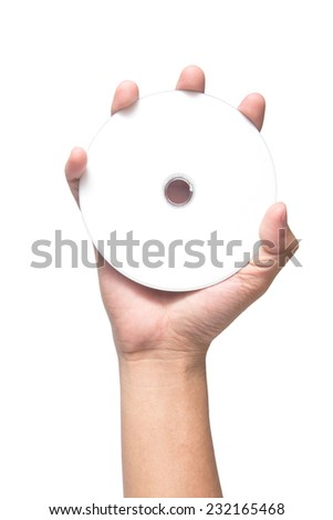 hand holding white blank CD DVD isolated on white background - stock photo