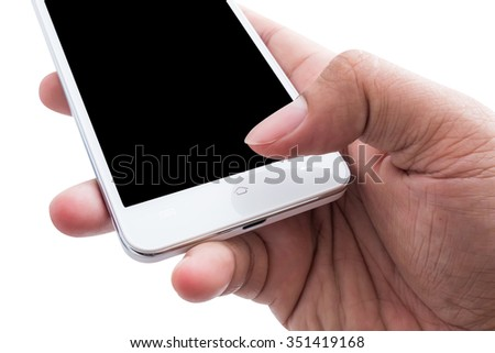 Hand holding white smart phone blank screen over white background