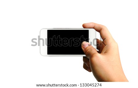 Hand holding white smart phone, playing games, clipping path - stock photo