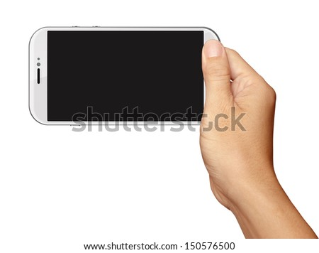 Hand holding White Smartphone in horizontal on white background - stock photo