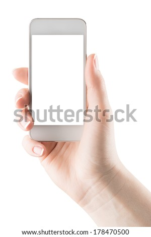 Hand holding white smartphone with blank screen, isolated - stock photo