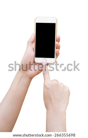 Hand holding White Smartphone with blank screen isolated on white background - stock photo