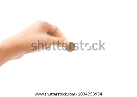 hand holding with Thailand coin money isolated on white background