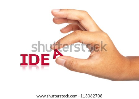 Hand holding word Idea ;business concept - stock photo