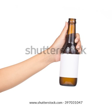 hand holding yellow Whisky Bottle with labeling area isolated on white background