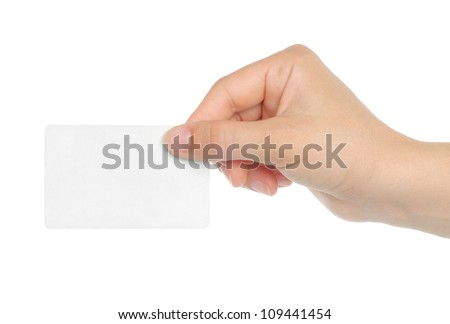 Hand holds business card on white background - stock photo