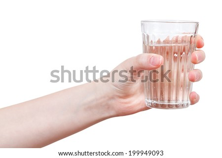 hand holds clear water in glass isolated on white background