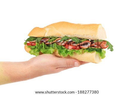 Hand holds french baguette sandwich. Isolated on a white background. - stock photo