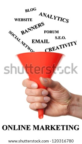 Hand holds funnels by fall words into that are necessary for a successful online marketing