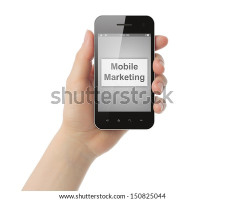 Hand holds smart phone with mobile marketing button on its screen  on white background.   - stock photo