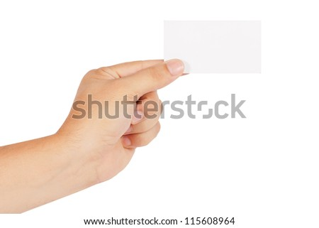 hand holds the card - stock photo