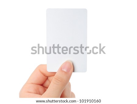 Hand holds the card on white background - stock photo