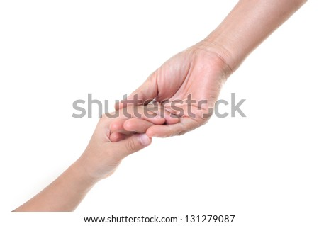hand holds the hand of his mother's daughter