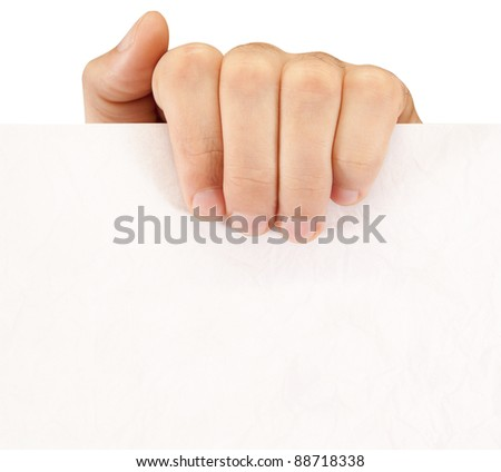 hand holds the sheet - stock photo