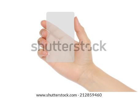 Hand holds transparent card on white background   - stock photo