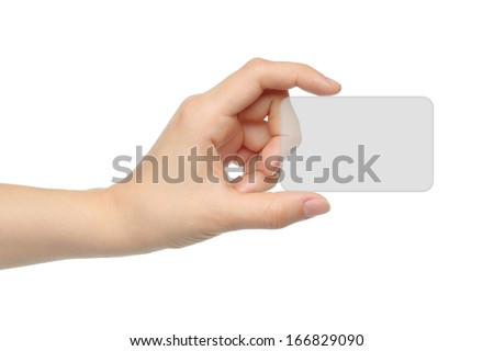 Hand holds virtual card on white background   - stock photo