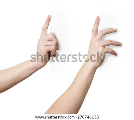 Hand holds white edge surface, two positions, clipping path - stock photo