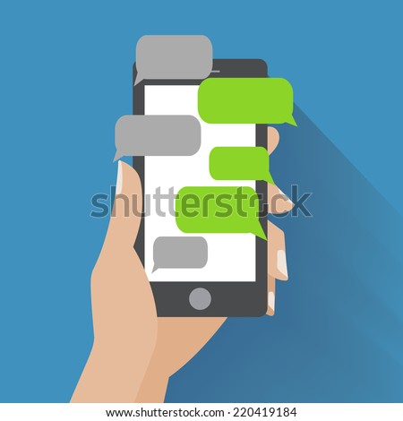 Hand holing black smartphone with blank speech bubbles for text. Text messaging flat design concept