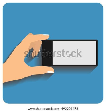 Hand holing smartphone with blank screen. Using mobile smart phone, flat design concept. Art illustration