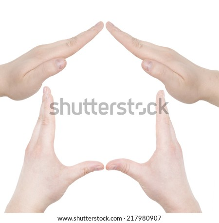 hand home gesture isolated over white background