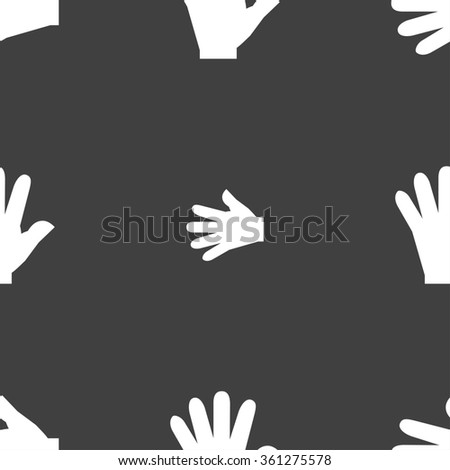 hand icon sign. Seamless pattern on a gray background. illustration