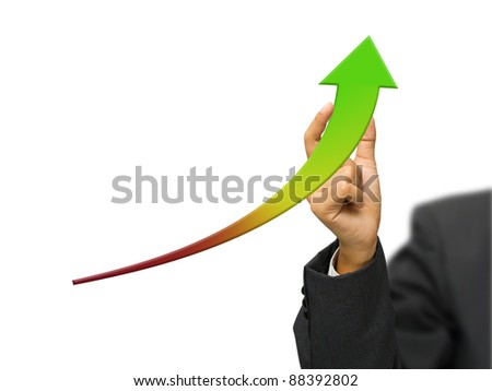 Hand improve green graph isolated on white background