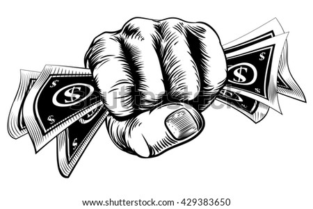 Hand in a fist holding cash money dollar bills in a vintage woodcut style - stock photo