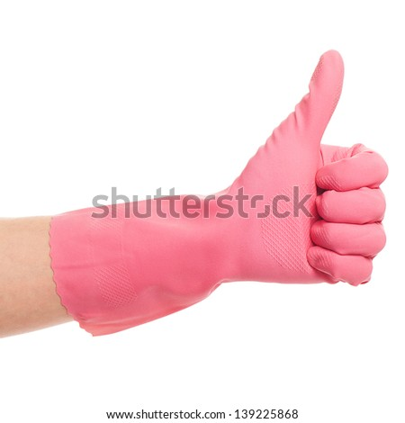 Hand in a pink glove on a white background - stock photo