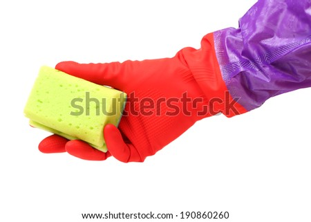 Hand in a rubber glove cleaning a white surface with a sponge