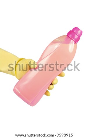 Hand in a rubber glove holding a bottle with cleaning liquid. Isolated on white - stock photo