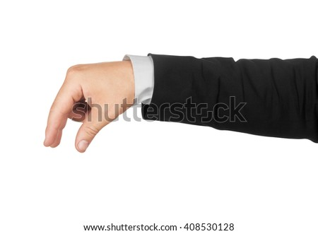hand in a suit holding something isolated on white background - stock photo