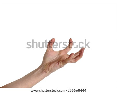 Hand in awkward frustrated overstretched position isolated on white - stock photo