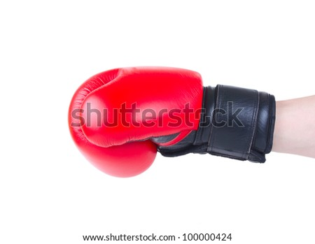 hand in boxing glove does blow isolated on white background