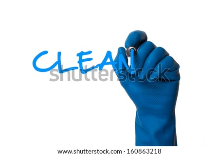 Hand in cleaning glove writing clean, isolated on white background. - stock photo