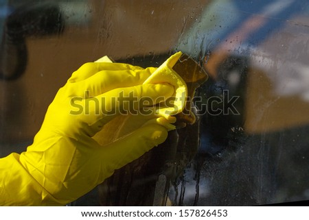 Hand in glove washing window.