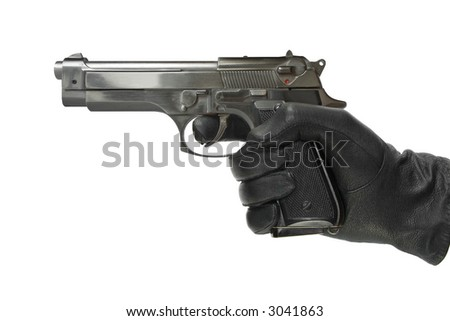 Hand in glove with pistol, isolated on white