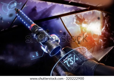Hand in gloves holding a reloading machine-gun. First person view hand in black leather gloves holding a futuristic neon fantasy reloading automatic machinegun with neon indicators and pointers. - stock photo